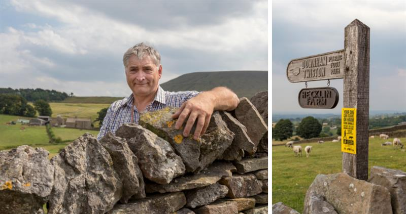 Thomas Binns and footpath sign - hill farming_59352