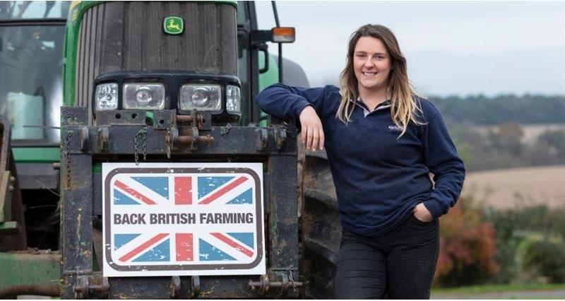 Charlie Beaty with Back British Farming sign_71367