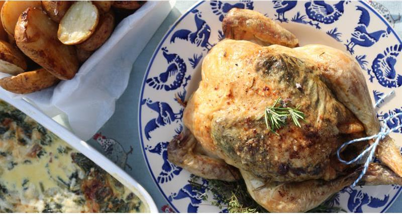 Roast chicken with spinach and cream cheese