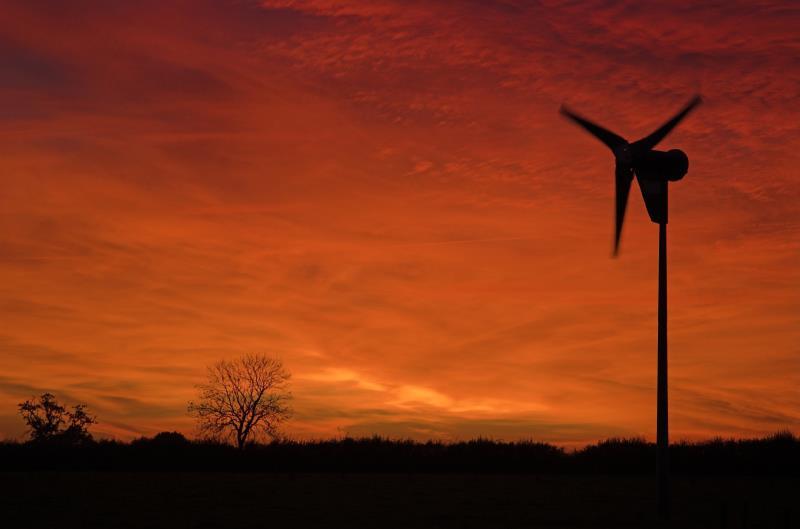 Wind turbine at sunset_12726