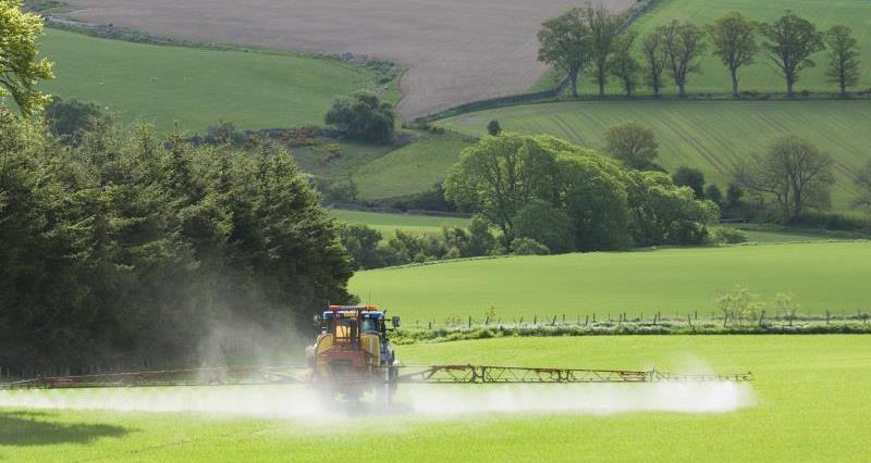 Tractor spraying in springtime_19413