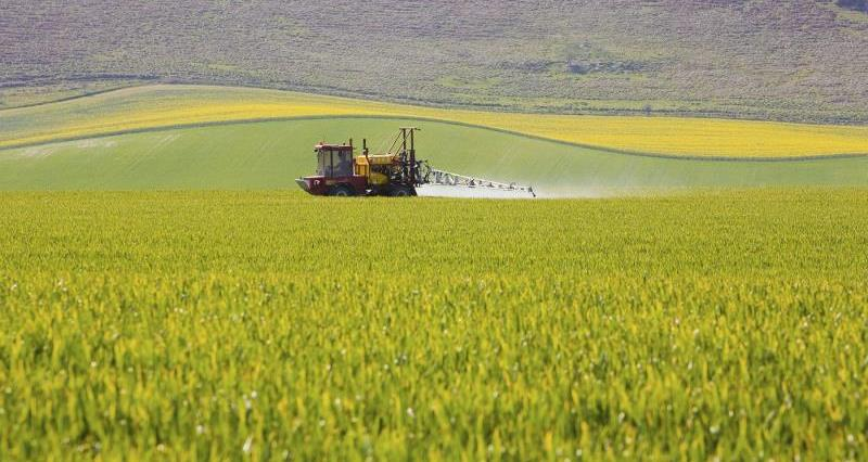 Tractor spraying crops_7643