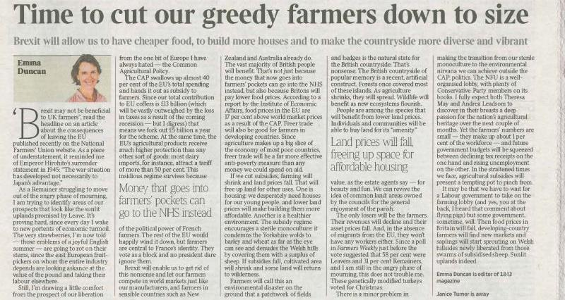 The Times article on greedy farmers, emma duncan_36092