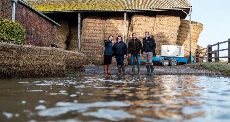 NFU President Minette Batters and Environment Agency chair Emma Howard Boyd visit NFU members Robert and Josie Robinson's farm at Fishlake, Doncaster, 20 November 2019_70632