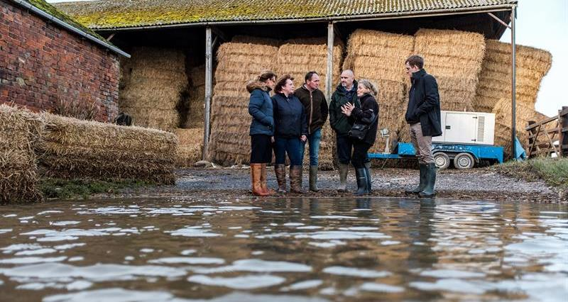 NFU President Minette Batters and Environment Agency chair Emma Howard Boyd visit NFU members Robert and Josie Robinson's farm at Fishlake, Doncaster, 20 November 2019_70631