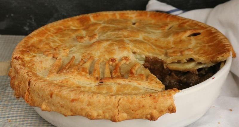 Shin of beef, leek and potato pie with cheese pastry