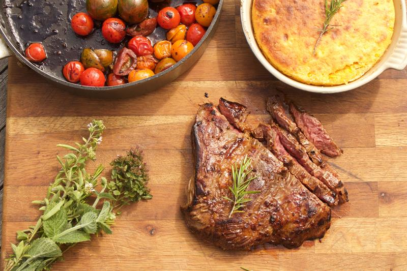Bavette steak with roasted squash cornbread