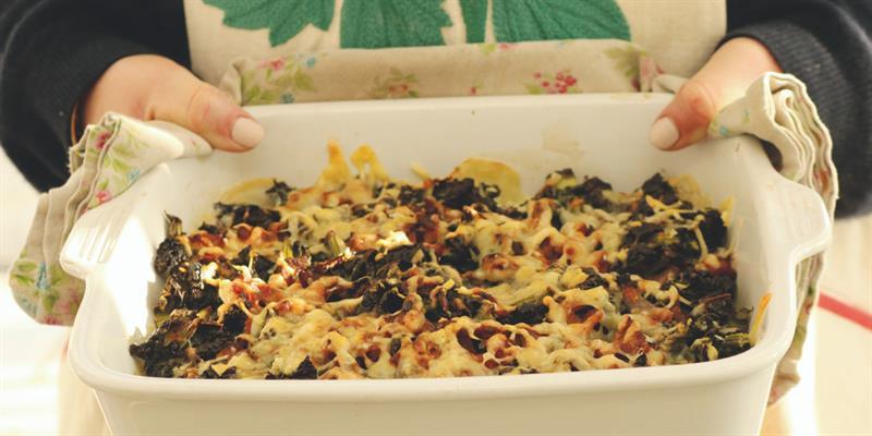 Kale, bacon and potato gratin_61297