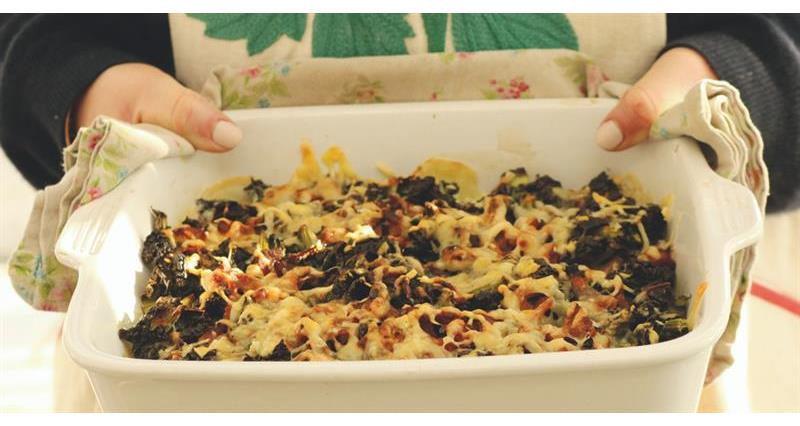 Kale, bacon and potato gratin