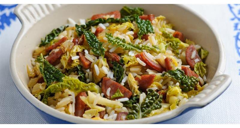 Savoy cabbage with chorizo, shallots and rice