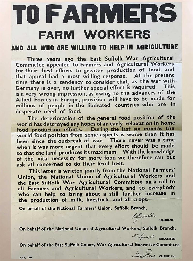 Letter about farm work after the war_73518