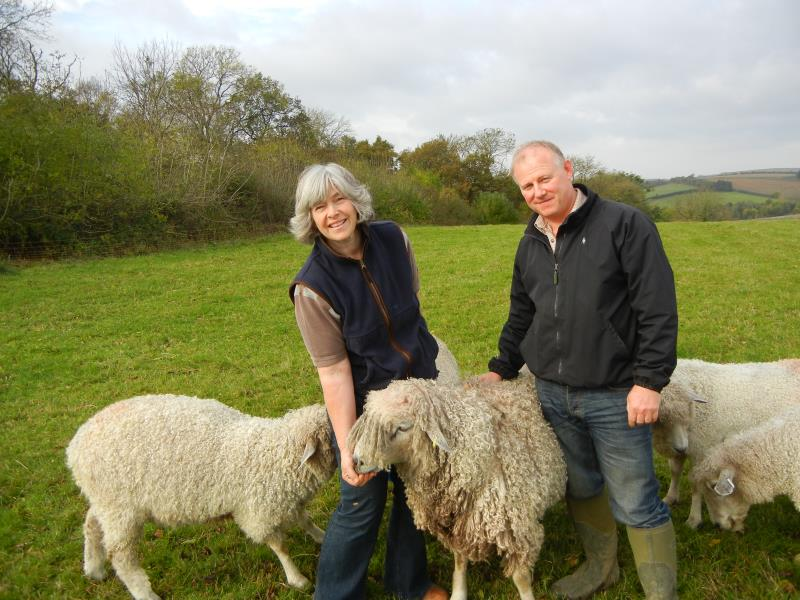 Phil and Ruth Jarvis with their Leicester Longwool sheep_26649