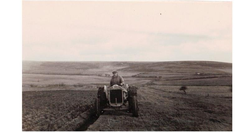Epynt: Fields being ploughed at Penlawen or Gwybedog around 1940_73911