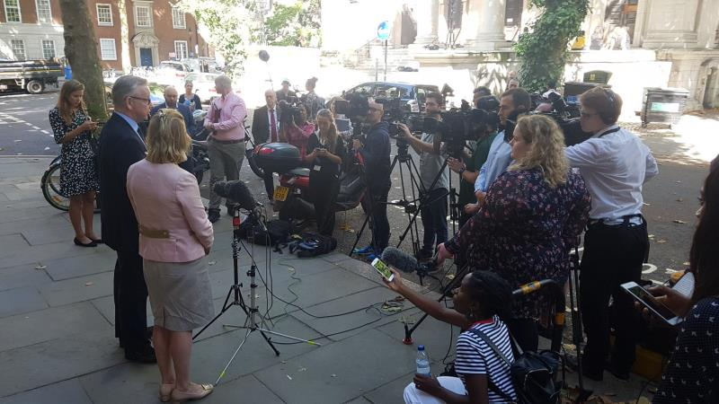 Minette Batters Michael Gove interviews outside drought summit meeting 1 aug 2018_56546