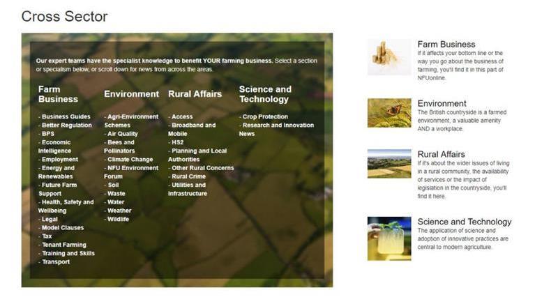 Cross Sector navigation menu NFUonline_33812