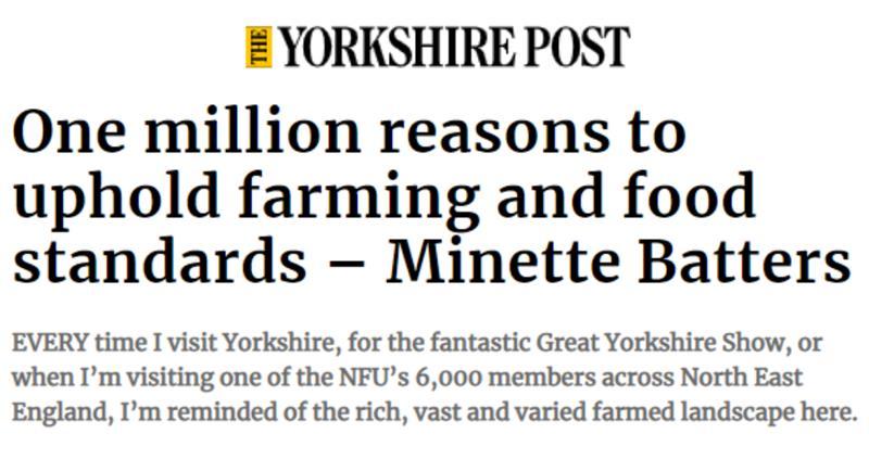 Yorkshire Post headline Minette Batters column on food standards petition_73896