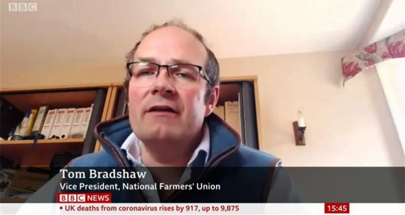 Tom Bradshaw talking about labour issues on BBC News_73081