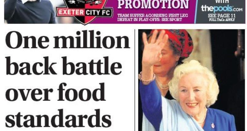 Western Morning News covers the NFU petition on food standards on its front page_73828