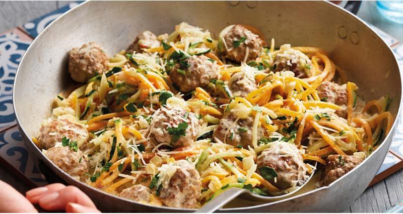 Pork Meatballs with vegetable Ribbons_70649