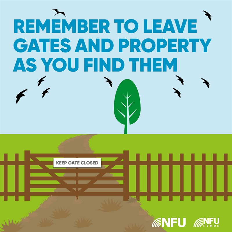 Countryside Code leave gates and property NFU Facebook Instagram infographic