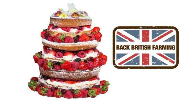 3 tier victoria sponge with fresh Btitish berries and cream and Back British Farming logo