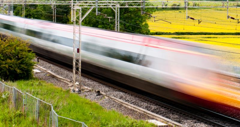 high speed train in countryside, web crop_38685