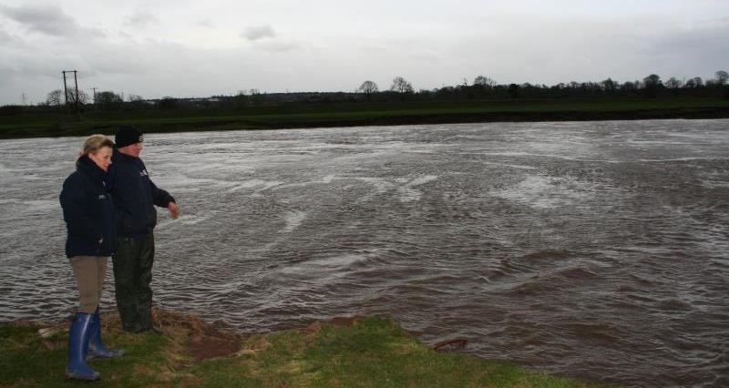 Minette Batters and Rob Reay witness where the River Eden burst its banks_31606