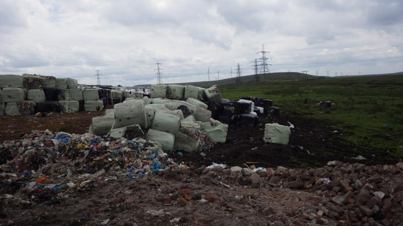 Illegal deposit of baled mixed municipal waste _36221