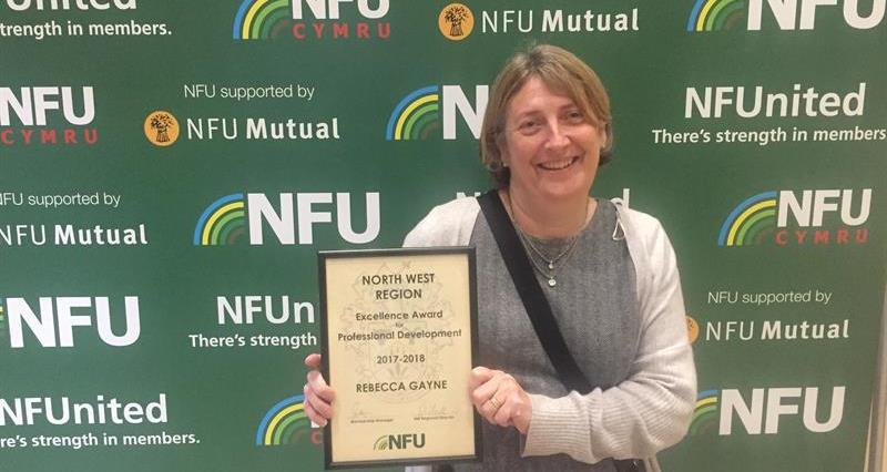 Macclesfield NFU's Rebecca Gayne with her Professional development award_59389