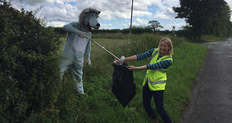 NFU Lancashire County Chairman Lisa Edwards and son (in fancy dress) taking part in The Great Lancashire Litter Hunt_74108