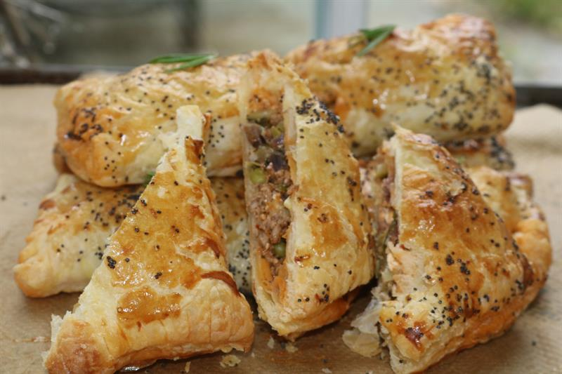 Lamb, mint, courgette and feta parcels