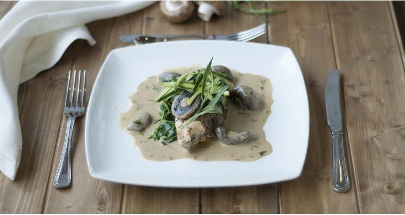 Pink champagne chicken in a mixed mushroom sauce