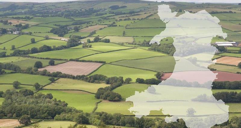 Welsh farmland with map of wales_50915