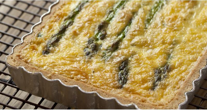British asparagus, goat's cheese and smoked bacon quiche