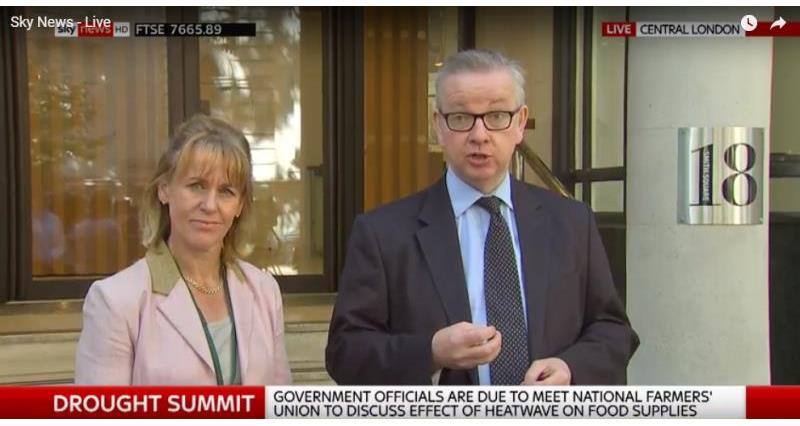 Minette Batters and Michael Gove at Agriculture Drought Summit on Sky News_56484
