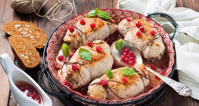 Chicken with Yorkshire Wensleydale cheese and cranberries