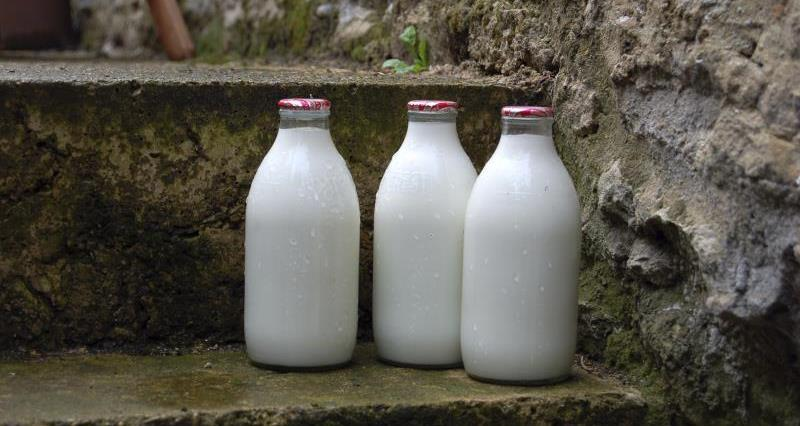 Milk bottles on doorstep_25743