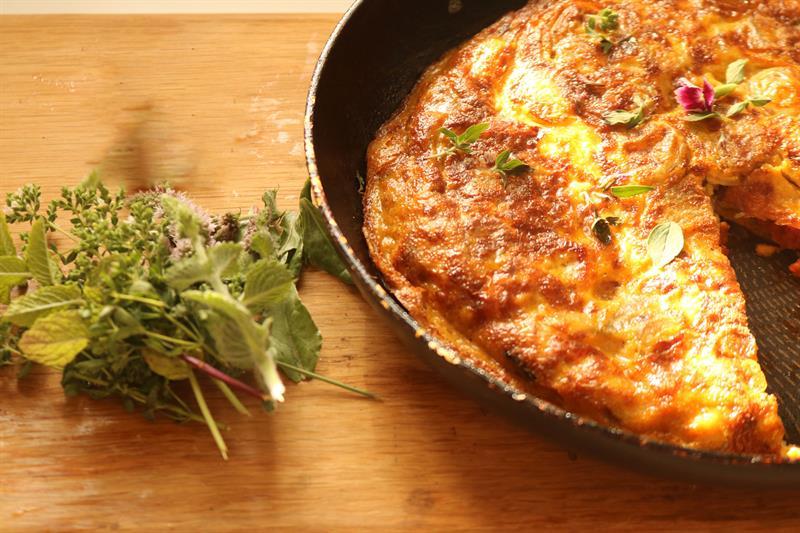 Spicy potato and chorizo tortilla