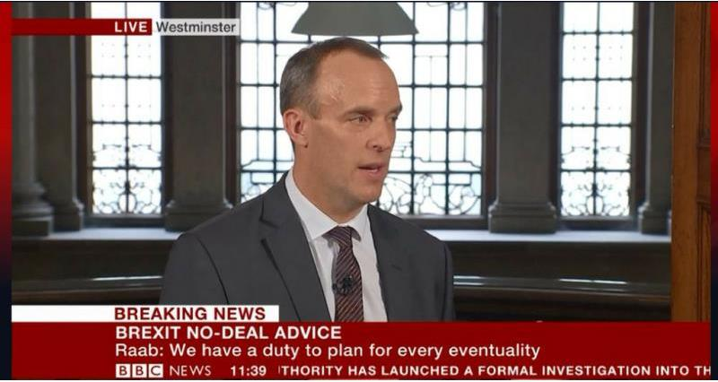 Dominic Raab Secretary of State for Exiting the European Union announcing technical notices on no deal scenario_56998