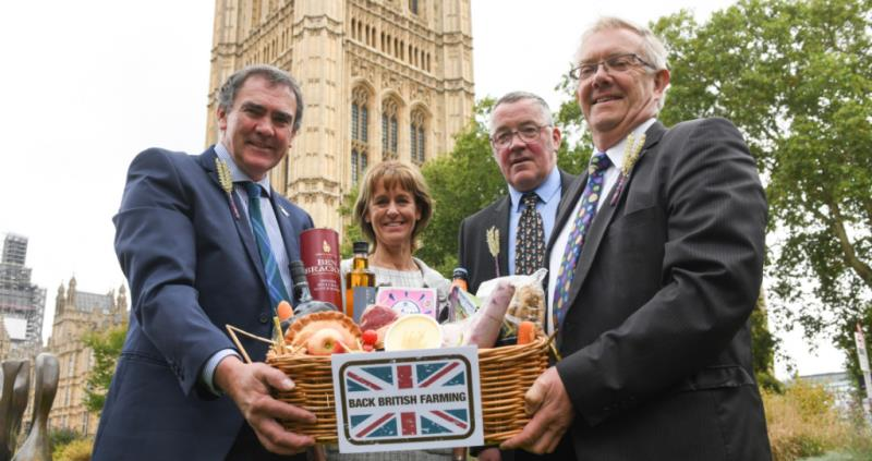 Minette Batters and leaders of UK Farming Unions with BBF hamper Back British Farming Day 2018 web size_57411