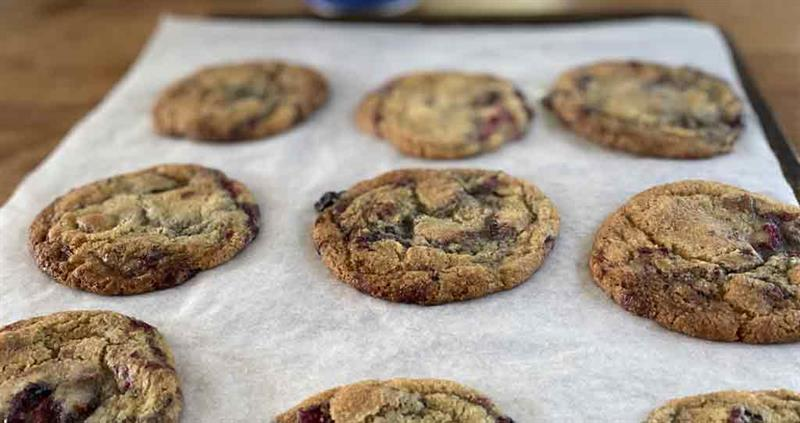 Summer berry and chocolate chip cookies