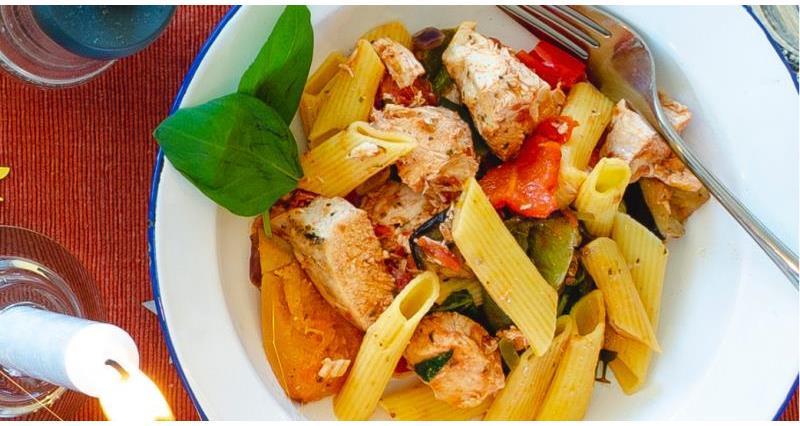 Chicken and roast vegetable pasta