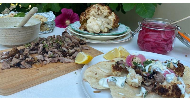 Lamb flatbreads with spiced cauliflower and pickled pink onions