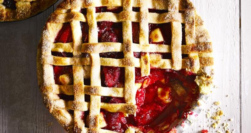 Plum and marzipan pie