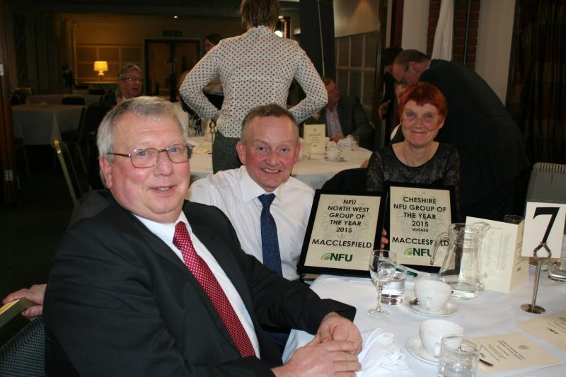 Macclesfield branch chairman Mike Gorton with Group Secretary Keith Brightmore and wife. The Macclesfield office of the NFU were rewarded for the best membership retention and recruitment in the county and whole region._32478