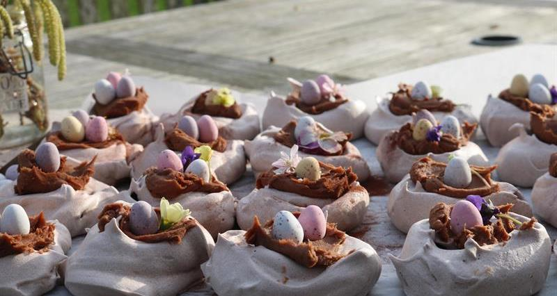 Chocolate meringue nests with milk chocolate salted caramel ganache